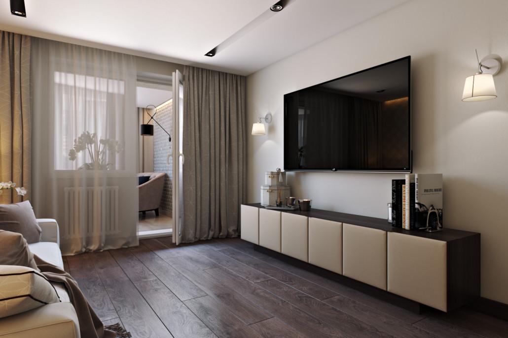 интерьера гостиной с балконом
